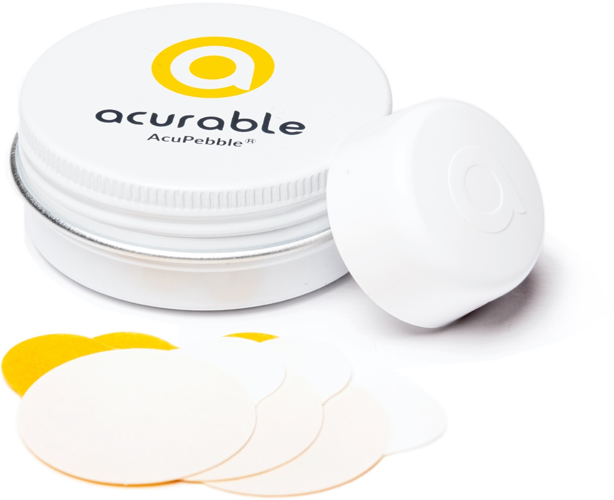 AcuPebble sensor with box and adhesives